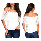 Sexy Womens White Off Shoulder Casual Tops Blouse Lace Crochet Chiffon Blouses