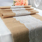 "240x30cm(94 x 11"") Lace Hessian Burlap Table Runner Country Rustic Wedding Decor"