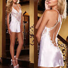 Womens Sexy Lingerie Sleeveless Sleepwear Pajama Mini Dress Backless Nightwear A