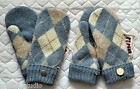 HANDMADE 100%  Shetland WOOL recycled sweater MITTENS, Fleece Lined,  ARGYLE