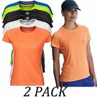 2-PACK-Tee Jays tshirts Tops-Womens Cool Dry T-Shirt-Short Sleeve Crew Neck Tee