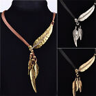 LadiesVintage Bronze Rope Chain Feather Pendant Choker Chunky Statement Necklace