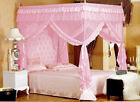 Home Princess Pink 4 Poster Canopy Mosquito Net Cal King Full Queen Bed Size image