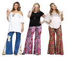 Adult 60s 70s Hippie Groovy Flower Child Bell Bottom Bottoms Pants Plus Size