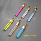 5Pcs Titanium Rainbow Quartz Crystal Point Pendant / Necklace Gold Plated GG0360