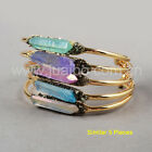 5Pcs Gold Plated Dyed / Titanium Rainbow Quartz Crystal Point Open Bangle GG0257