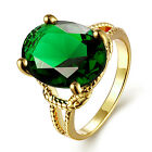 New Stylish Gold Plated Green Gem Finger Ring Women Personality Party Jewelry