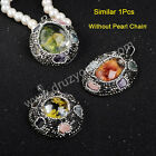 1Pcs Oval Natural Phantom Quartz & Multi-Kind Stone Pendant & CZ AJA227