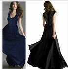 8003 Black & Blue Evening Ball Gown Bridesmaid Long Women Dresses S/M/L/XL/XXL