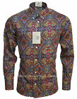 RELCO PLATINUM COLLECTION Satin Cotton Paisley Shirt MULTI 60s Mod Skin RSW512
