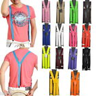 Women Men Clip-on Elastic Suspenders Y-Shape Adjustable Braces Solids
