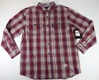 Mens Shirt Phat Farm Classic red Plaid Collard Long-Sleeve Button-Front New $45