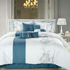 Ann Harbor Blue Comforter Bed In A Bag Set 8 Piece