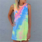Women's Summer Sleeveless Shiny Tie-dye Round Neck Rainbow Long Top Mini Dress