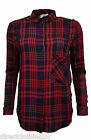 NEW LADIES Bershka LONG SLEEVE SIDE BUTTON CHECK BLOUSE SHIRT sz S- L RED NAVY