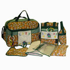 Baby Fabric Diaper Bag 9pc Gift Set - LARGE & SMALL Bottle Bags + 2 Key Rattles