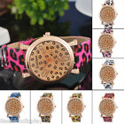 FL Women Fashion Retro Leopard Faux Leather Gold Case Quartz Analog Wristwatch