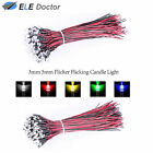 10 30 50 Pre-Wired 9-12V Water Clear 3mm 5mm Flicker LED Diodes White Red Blue
