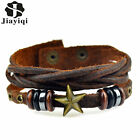 Vintage Jewerly Accessory Handmade Braided Leather Skull Star Bracelets for Men