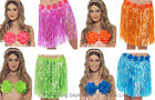Hula Girl Grass Skirt + Flower Bra Set Hawaiian Beach Party Ladies Fancy Dress