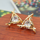 New Fashion Women Girls Elegant Triangle Crystal Rhinestone Ear Studs Earrings