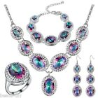 4 Pcs BD New Women Lady Fashion S925 Silver Plated Multicolour Gem Jewelry Set