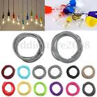 1/2/3/5/10M Retro Coloured 2 Core Twist Braided Lighting Fabric Cable Flex Cord