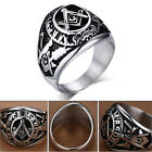 Mens Vogue Accessories Stainless Steel Silver Punk Band Masonic Freemasons Ring
