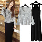 Women Spring Autumn Loose V neck Long Sleeve Hollow Knitted Sweater + Long Dress