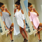 Sexy Womens Summer Off Shoulder Evening Party Club Blouse Top T Shirt Mini Dress