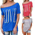 Womens Short Sleeve Off Shoulder LOVE Letter Print Loose Tops T-shirt