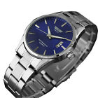 New Men's Watch Stainless Steel Band Date Analog Quartz Sport Wrist Watch Army