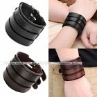 Adjustable Wide Genuine Leather Men's Cuff Bracelet Mulitilayer Wristband Cool
