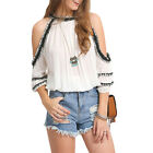 Sexy Womens Loose Boho Chiffon Shirt Off Shoulder Casual Tops Summer Blouse New