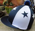 RIDING Hat Silk Skull cap Cover NAVY BLUE & WHITE  STARS With OR w/o Pompom