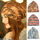 FL New Women Cotton Leopard Print Beanie Headband Scarf Collar 3 In 1