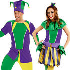 Carnival Jester Adults Fancy Dress Circus Clown Funny Ladies Mens Costume Outfit