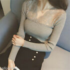 Women Ladies Lace V Neck Blouse Long Sleeve Bodycon Shirts Tops One Size