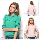 Ladies Women Casual Long Sleeve Shirt Cotton Blend Shrug Collar Blouse Tops