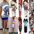 Sexy Womens Fashion Floral Evening Party Clubwear Slim Bodycon Short Mini Dress