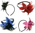 BLACK RED PINK BLUE BURLESQUE PIN UP FEATHER POLKA NET FLOWER BAND FASCINATOR