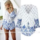 Women Summer Blue White V-Neck Casual Playsuit Jumpsuit Romper Party Long Sleeve