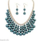 BD 1Set Europe New Fashion Women Pearls Pendant Necklace Errings Accessory Suit