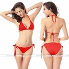 Women Bikini Swimsuit Bathing Push-up Padded  Halter Bandage Swimwear Bra Red