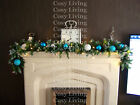 Luxury 1.8m Frozen Christmas Garland Swag Ice Blue White Baubles Snowflakes 6ft