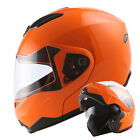 1STorm DOT Motorcycle Modular Flip up Full Face Helmet Sun Visor Glossy Orange