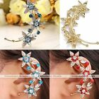 1x Fashion Women Golden Rhinestone Star Clip-on Wrap Left Ear Cuff Earring Gift