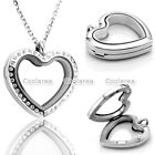 Love Heart Living Memory Floating Charms Glass Crystals Locket Pendant Necklace