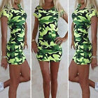 Fashion Sexy Womens Round Neck Short Sleeve Stretch Slim Mini Dress Camouflage