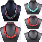 Fashion Womens Geometric Turquoise Charms Statement Bib Necklace Choker Jewelry